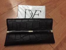 NWT Diane Von Furstenberg 440 Black Croc-Embossed Leather Envelope Clutch $248