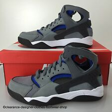 NIKE AIR FLIGHT HUARACHE TRAINERS NEW GREY ROYAL BLUE SHOES UK 9 RRP £130