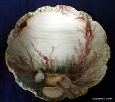 Antique C1900 JPL Pouyat Limoges Hand Painted Oyster Sea Life Bowl Plate Tray