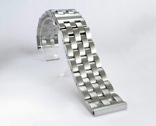 NEW 24mm Brushed Solid Link 316L Stainless Steel Watch Bracelet Butterfly Buckle