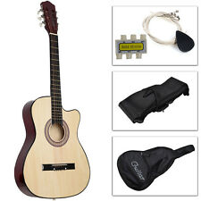 New Beginners Acoustic Guitar With Guitar Case, Strap, Tuner and Pick Beige