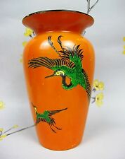 ART Deco Arancione Shelley pottery vase. Oriental Crane, STOCK, esotico. BIRD anni 1920