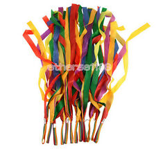 12pcs Handheld Rainbow Dance Ribbon Stage Props Toys for Children Multi Colored