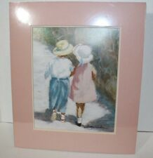 "IVAN ANDERSON SIGNED PINK MAT CATALOG PRINT ""SECRETS"" BOY and GIRL WALKING"