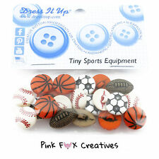 TINY SPORTS EQUIPMENT DRESS IT UP NOVELTY CRAFT BUTTONS FOOTBALL RUGBY BASKET UK