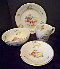 "Vtg 4 pc MARY HAD A LITTLE LAMB ""Christine"" Childrens Dishes Buffalo China 1940s"