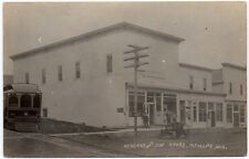 RPPC Trolley & Early Auto Koschke and Son Store in Mt. Hope, Wisconsin~106625
