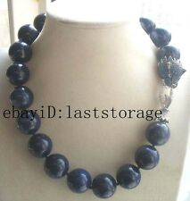 "lapis lazuli round 20mm leopard clasp necklace 18"" nature wholesale beads fashi"