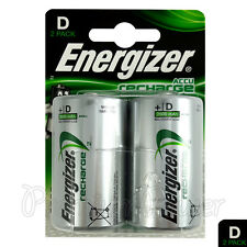 2 x Energizer Rechargeable D Size batteries Recharge Power NiMH 2500mAh LR20