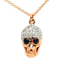 14K ROSE GOLD NATURAL PAVE DIAMOND SAPPHIRE SKULL GOTHIC PENDANT CHARM NECKLACE