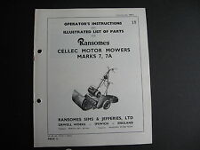 Ransomes Parts List Cellec Electric Mower Mk 7 & 7A  13 PAGES