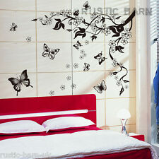 Home Decal Decor Wall Sticker Art Decal Cherry Blossom Flower Butterfly Vine