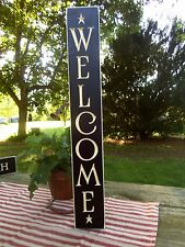 "24"" Black Primitive Wood Sign ""Welcome"" Rustic Country Home Decor Made in USA!"