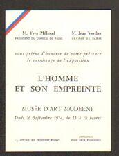 """PARIS CARTE D'INVITATION pour EXPOSITION Vernissage de """"L'HOMME & son EMPREINTE"""""""