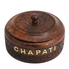 Stylla London Handcrafted Wooden Chapati Box with Stainless Steel