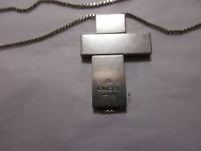 vintage?  silver gucci asymmetrical 3 part cross suspended on box link chain