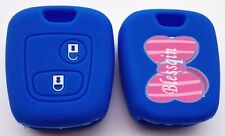 BLUE SILICONE CAR KEY COVER CASE for PEUGEOT NEW ACCESSORIES REMOTE 206 307