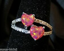 Sterling 925 Silver Size 8 Ring Ruby Red Fire Opal 5mm Cabochon Hearts & Zircon