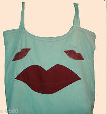 tote bag cream with red lips pattern and red lining handmade shopping or craft