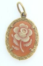 ESTATE 14 KARAT YELLOW GOLD FLOWER CAMEO PENDANT ACS-6-1 C6 VINTAGE