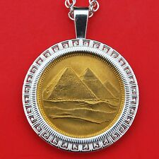 1984 Egypt 5 Piastres Tughra Pyramids BU Coin 925 Sterling Silver Necklace NEW