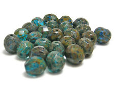 8mm Teal Blue Picasso Czech Glass Fire Polished Round Beads (25)  #B584