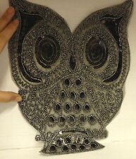 Large owl patch sequin applique motifs iron on hotfix black UK