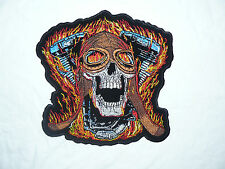 Flaming Skull V Twin Large Iron-on/sew-on Embroidered Patch Motorcycle Biker