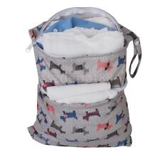 Dual Zipper Baby Cloth Diaper Nappy Wet Dry Bag Swimmer Tote with Dog Gray