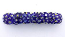 DARK BLUE YELLOW FLORAL FLOWER MILLEFIORI GLASS STRETCH BRACELET mb7