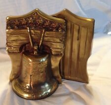 Liberty Bell Bookends Bronze Clad by Marion Bronze Co Signed MB