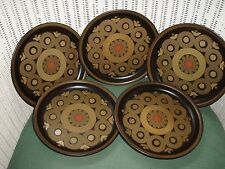 """DENBY TABLEWARE  5 POTTERY ENGLAND SAMARKAND BROWN/ BREAD AND BUTTER PLATES."