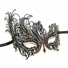Black Swan Venetian Style Metal Filigree Masquerade Mask Red Diamante Crystals