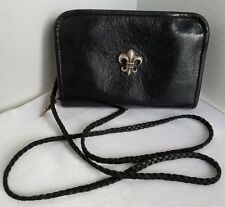 Chrome Hearts Black Leather Mini Purse Wallet Crossbody Bag