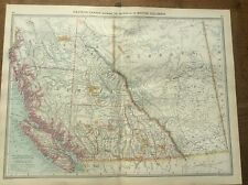 Antique 1904 colour map Western Canada Goldfields HARMSWORTH UNIVERSAL ATLAS