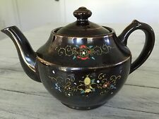 Vintage China Teapot Bohemian Moroccan Style Brown With Floral Design