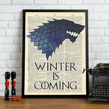 Game Of Thrones - Stark Winter Is Coming Mock Dictionary Page Art Print Blue.