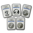 2011 Silver Eagle 5 Coin 25th Anniversary Set - MS/PF-70 Early Releases NGC