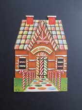 Unused Die Cut Stand Up Xmas Greeting Card Holiday Gingerbread Candy House