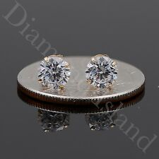 1.5 Ct Solid 14K Yellow Gold Basket Round Brilliant Cut Solitaire Earrings Studs