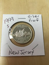1999 S Silver Proof Quarter New Jersey State Hood 90% Silver