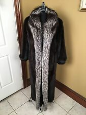 THE AMERICAN FUR AWARDS FULL LENGTH BLACK MINK W/ SILVER FOX COLLAR FUR COAT LRG