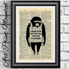 Original Art print on dictionary book page MOUNTED Banksy monkey quotation art