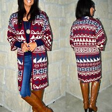 Boho Burgundy LONG Nordic TRIBAL STRIPED PATTERN COZY CARDIGAN SWEATER COAT S-XL