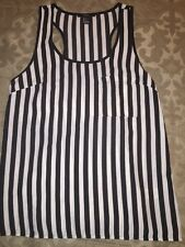Forever21  Black and White Vertical Striped Tank Size SMALL Pocket
