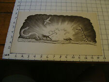 Charles E. Pont PROOF from 1939 Circus Boat book: EXPLOSION & ANIMALS black only
