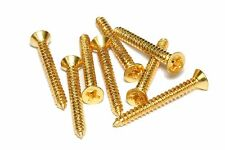 "Pickup mounting ring screws for guitars #2 x 3/4"" Qty 8 Gold"