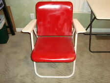 """VTG Folding Sampson """"Russel Wright"""" Red Patio Lawn Furniture Metal Chair Deck"""