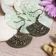 ER2425 Graceful Garden Filigree Design Antique Chinese Engraved Fan Earrings