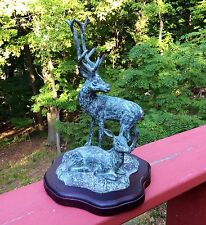 "Vintage Verdigris style Buck and Doe on Walnut Stained Base 10"" High."
